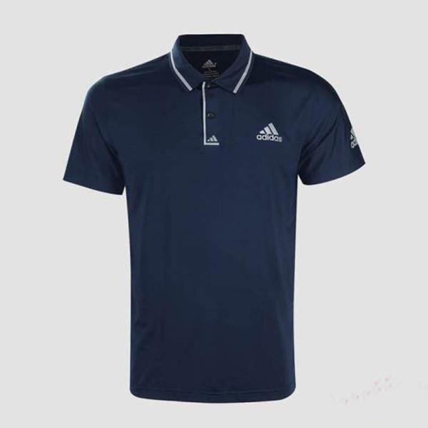 Áo thun nam Adidas viền sọc cổ bẻ màu xanh dương đậm AT568