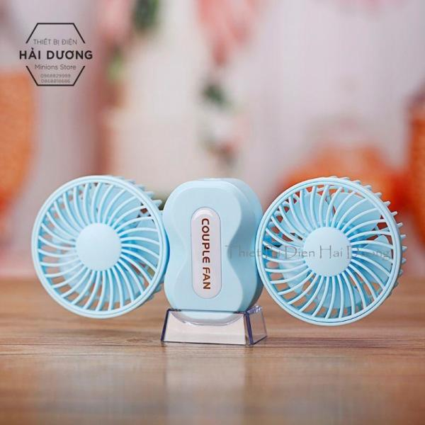 Quạt cầm tay mini Couple Fan sạc tích điện 3 cấp độ gió - kèm chân để bàn