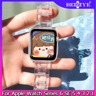 Dây đeo bằng nhựa trong suốt đầy đủ cho Apple Watch Band 44mm 40mm 38mm 42mm Rõ ràng Vòng đeo tay thanh lịch Vòng đeo tay cho đồng hồ quả táo Series 5 4 3 2 1 Dây đeo kẹo pha lê thumbnail