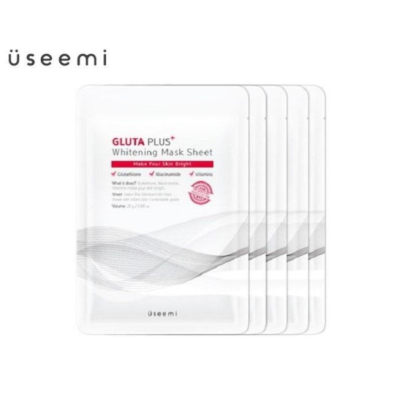 Bộ 05 mặt nạ dưỡng trắng USEEMI Gluta Plus Whitening Mask, mặt nạ giúp làm trắng da USEEMI, mặt nạ USEEMI chính hãng Hàn Quốc nhập khẩu