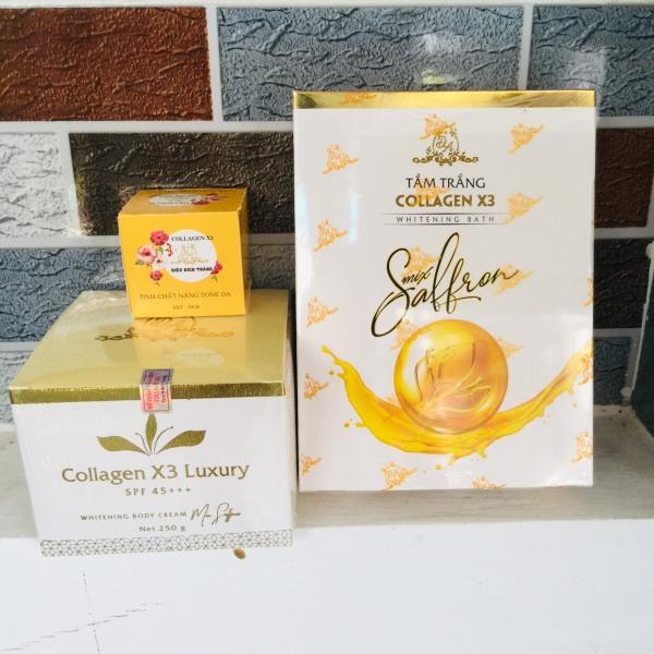 Combo Kem Body Luxury + Kích trắng X3 + Tắm trắng Collagen X3 Luxury Đông Anh Chính Hãng