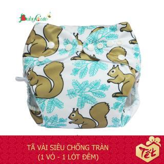 Bộ tã vải BabyCute ban Đêm Siêu chống tràn size S (3-9 kg) (1 Vỏ + 1 Lót) mẫu bé Trai thumbnail