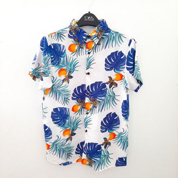 Áo sơ mi hawaii đi biển áo hoa lá cây - ALC42