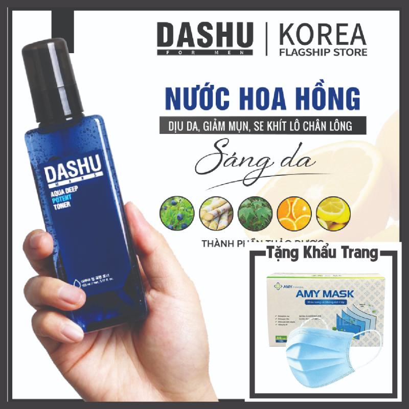 Nước hoa hồng Hàn Quốc Dashu Aqua Deep Potent Toner 153ml, hướng dẫn cách sử dụng, cách dùng nuoc hoa hong cho da mụn có tác dụng giúp se khít lỗ chân lông, tăng độ ẩm cho da, thành phần nước biển sâu, tảo bẹ, hương Gỗ tự nhiên.
