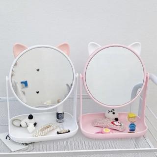 GƯƠNG TAI THỎ, TAI MÈO, TAI CHUỘT MINI KỆ VUÔNG - Gương tai mèo, tai thỏ mini để bàn cực xinh, gương để bàn, gương mini cho các nàng thumbnail