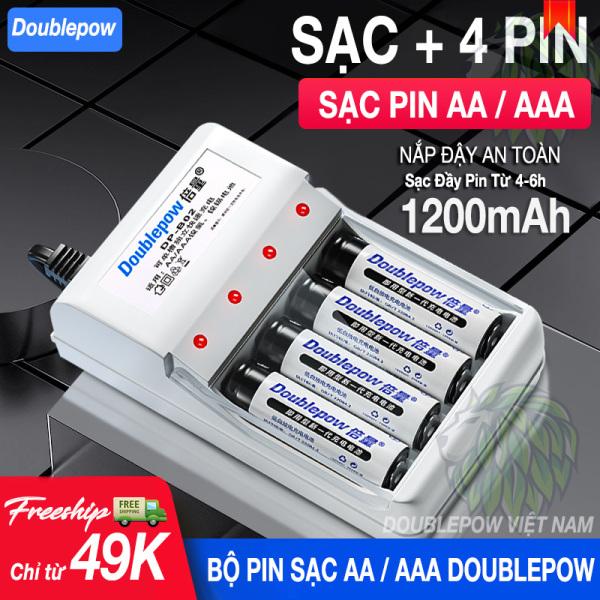 Bộ sạc pin AA/AAA DB02 + 4 pin AA 1200mah Doublepow (hàng chính hãng) Pin Sạc Micro Không Dây - Pin Đồ Chơi Điện Tử - Pin Tiểu Sạc Dung Lượng Cao - Pin Micro Loa Kẹo Kéo - Pin Chuột Không Dây