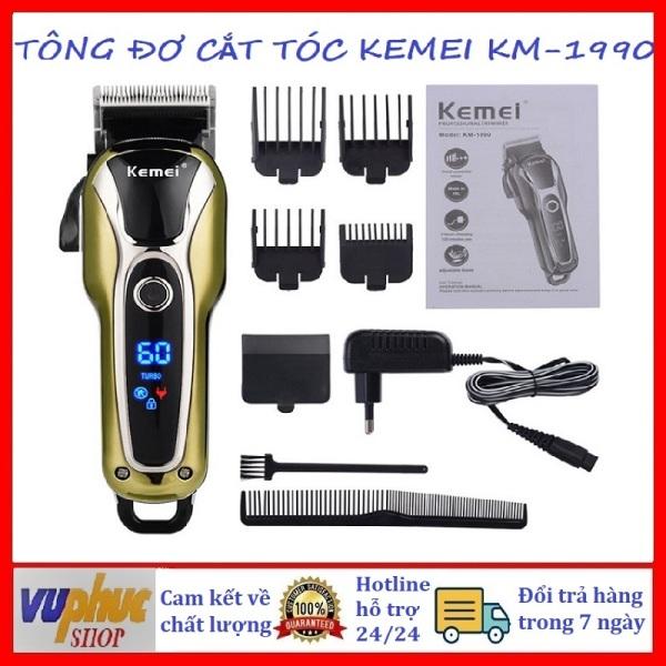 Tông đơ cắt tóc chuyên nghiệp Kemei Km-1990 có chế độ Turbo siêu mạnh cao cấp, 2 mức điều chỉnh tốc độ, màn hình LCD hiển thị sắc nét dùng cho người lớn, trẻ em, người già và các salon tóc cao cấp