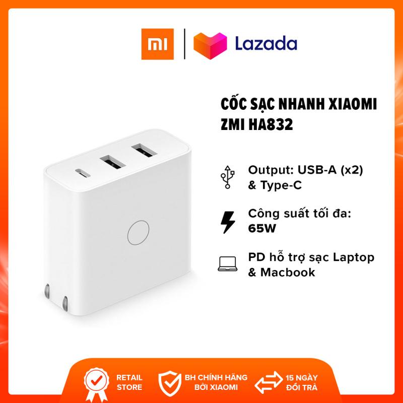 [FREESHIP] Cốc sạc nhanh Xiaomi ZMI HA832 l Output USB-A (x2) / Type-C 65W (Max) l Hỗ trợ sạc Laptop, Macbook, iPad l Trắng l HÀNG CHÍNH HÃNG