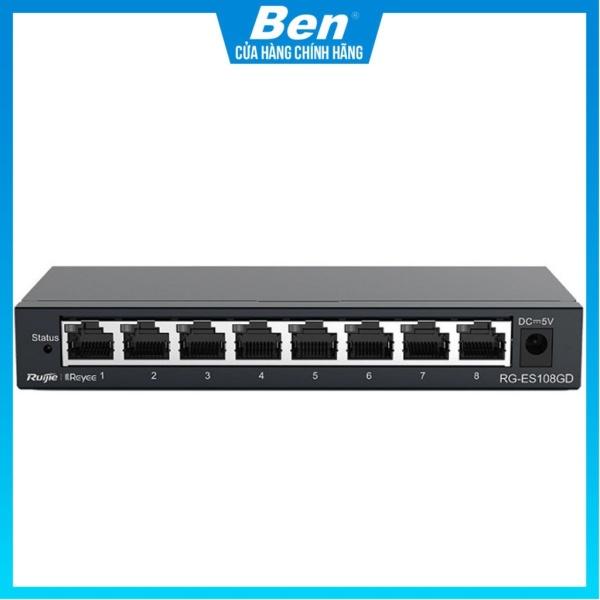 Bảng giá Thiết bị mạng Switch Ruijie Reyee RG-ES108GD 8-Port Gigabit unmanaged Switch Phong Vũ