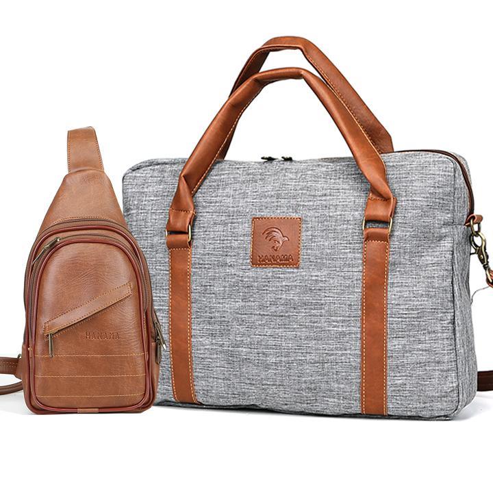 Túi xách công sở vải canvas cao cấp HANAMA G15 TẶNG túi da S16 VÀNG