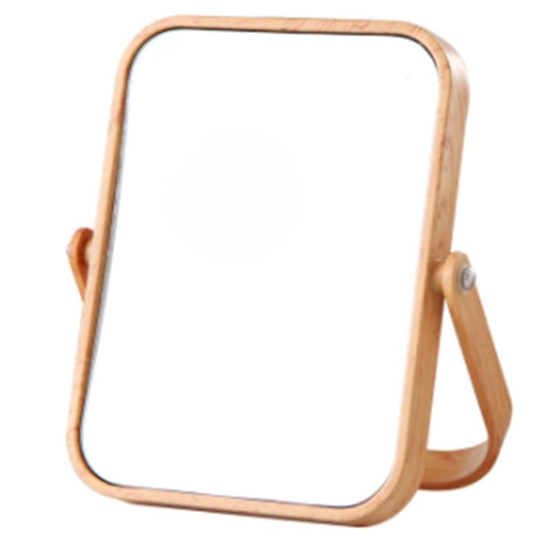 European Makeup Mirror Wood Bathroom Accessories Standable Desktop Decoration Mirror High Clear Standing Cosmetic Dresser Mirror giá rẻ