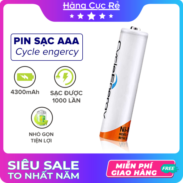 Bảng giá Pin sạc AAA (3A) loại tốt Ni-MH 4300mAh 1.2V - Pin tiểu Cycle Energy Rechargeable (1 viên) - Shop Hàng Cực Rẻ