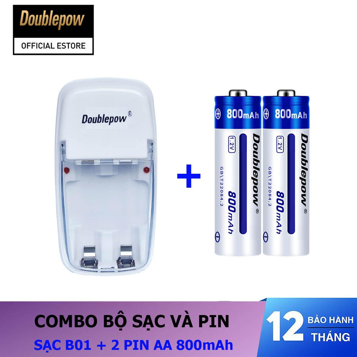 Giá Combo sạc pin 2 cổng B01 và 02 viên pin sạc AA 800mAh - Doublepow