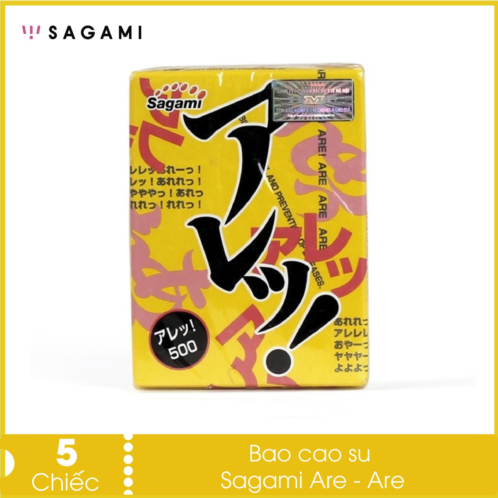 Bao cao su gai nổi Sagami Are Are (hộp 5 chiếc) - có gân gai và không mùi, siêu mỏng