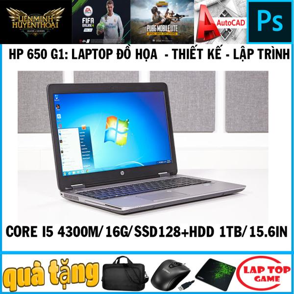 Bảng giá laptop đồ họa thiết kế HP EliteBook 650 G1 core i5 4300M, ram 16g, ssd 128+ hdd 1tb, màn 15.6 Phong Vũ