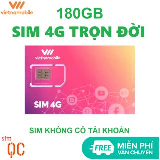 Sim 4G trọn đời 180GB vietnamobile không có tài khoản miễn phí vận chuyển thumbnail