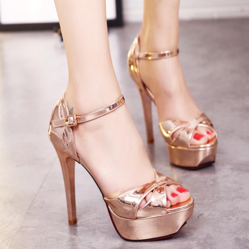 Giày cao gót nữ da bóng Rose Gold cao cấp - CG94 giá rẻ