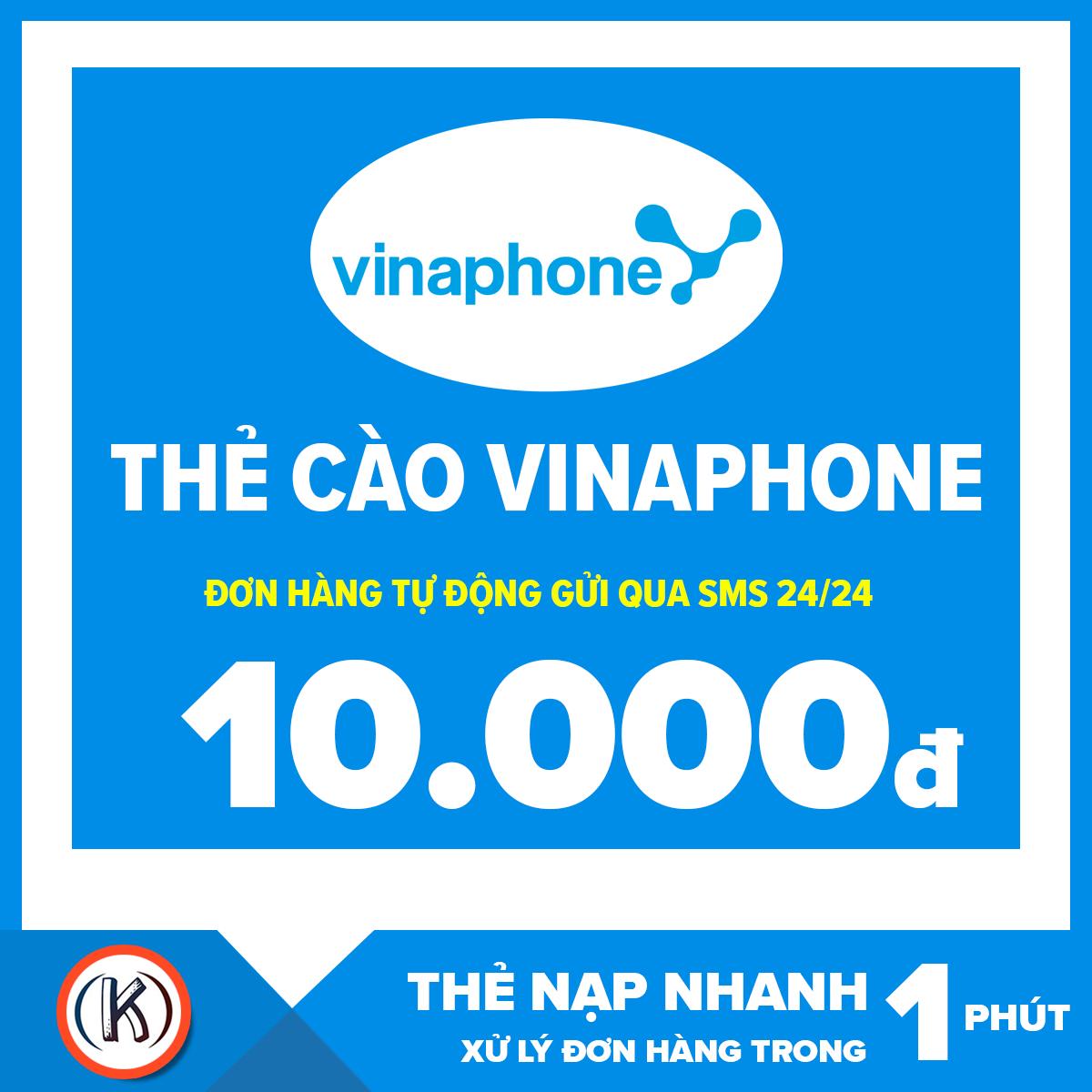 [HCM]Thẻ cào vinaphone 10.000đ (Đơn hàng tự động gửi qua Email 24/24)