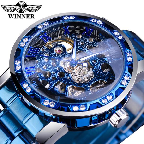 WINNER đồng hồ thể thao mẫu mới thời trang hoàng gia bề mặt trong suốt đồng hồ cơ dạ quang thể thao thiết kế chống nước chống sốc quà tặng lý tưởng cho nam giới - INTL