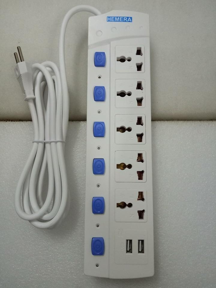Ổ cắm điện đa năng Hemera 5 lỗ 220v + 2 cổng sạc USB - loại tốt