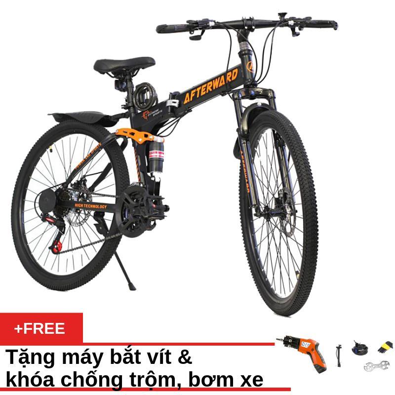 Mua Xe đạp gấp địa hình Air Bike ATW (Đen) + Tặng máy bắt vít, khóa chống trộm và bơm xe