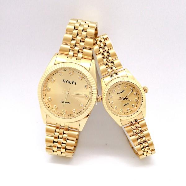 Cặp Đồng hồ Halei nam nữ cao cấp chống xước chống nước tuyệt đối (Giá 1 đôi) dây vàng mặt vàng bán chạy
