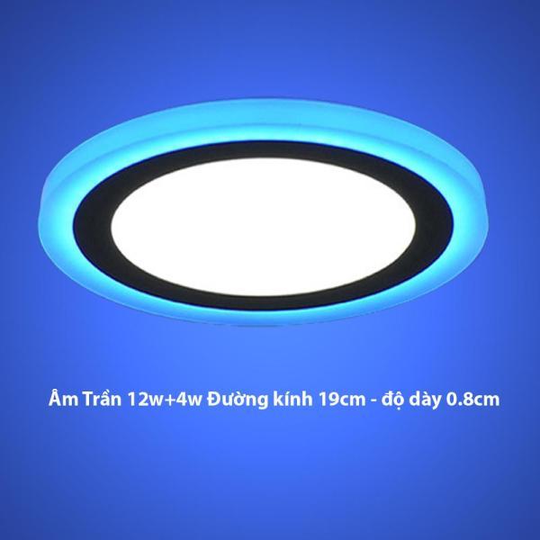 Đèn Led Âm trần tròn16w  2 màu 3 chế độ ánh sáng  trắng xanh dương