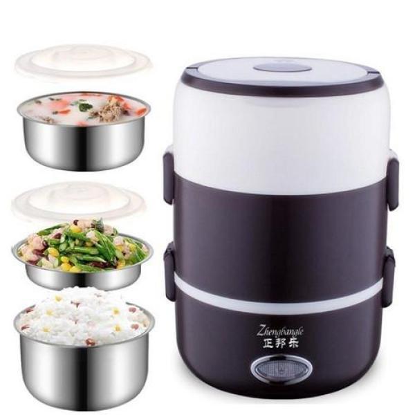 Cạp lồng cơm giữ nhiệt có cắm điện hâm nóng đồ ăn ruột inox cao cấp, cà men nấu cơm và hâm nóng lồng inox 3 tầng