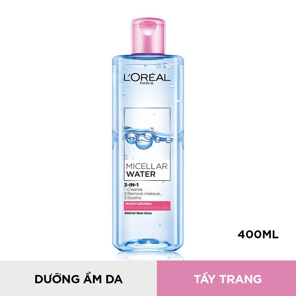 Nước Tẩy Trang L'Oréal Paris 3-in-1 Dưỡng Ẩm Dành Cho Da Thường & Da Khô 400ml Micellar Water 3-in-1 Moisturizing Even For Sensitive Skin