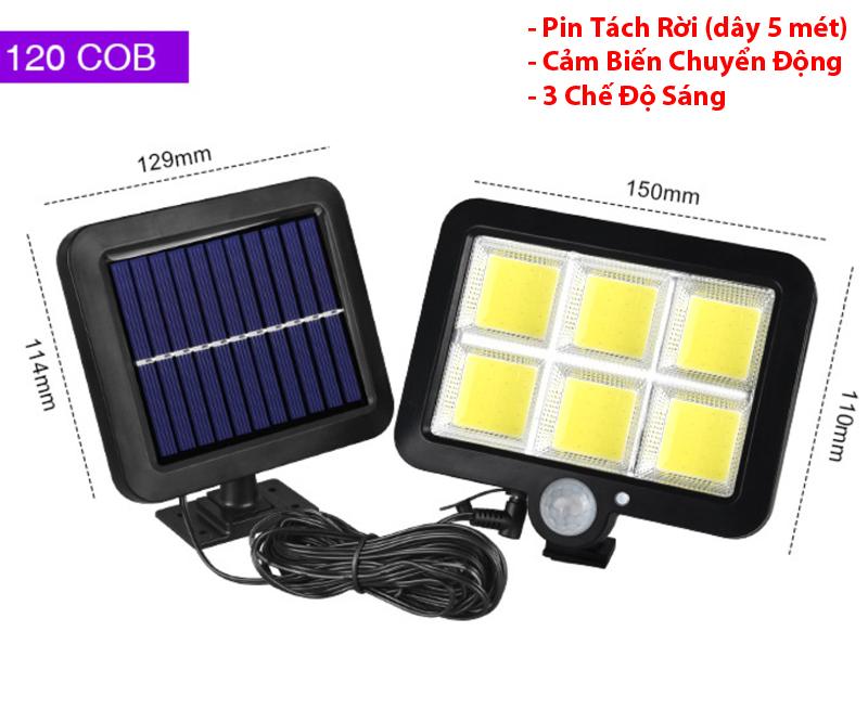 Đèn Led Năng Lượng Mặt Trời 120COB - Pin Tách Rời - dây 5m - Cảm Biến Chuyển Động - 3 chế độ sáng