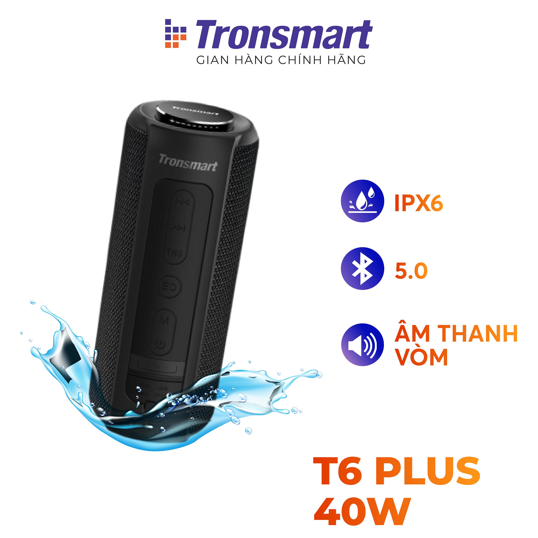 [VOUCHER 7% tối đa 500K] Loa Bluetooth 5.0 Tronsmart T6 Plus / T6 Plus Upgraded Công suất 40W Hỗ trợ TWS ghép đôi 2 loa Âm thanh vòm âm bass sâu và trầm với 3 chế độ EQ Chống nước IPX6 Thời gian nghe nhạc lên tới 24h - Hàng chính hãng bảo hành 12 th