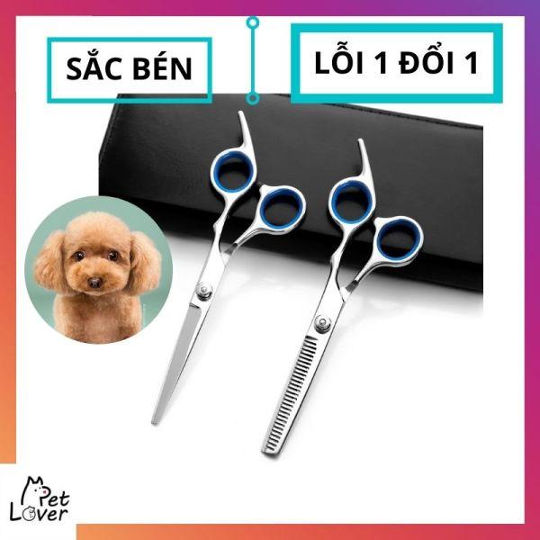 Kéo tỉa lông chó, kéo cắt lông chó méo, sắc bén, không rỉ, dễ dàng tạo kiểu lông thú cưng, hàng loại 1, LỖI 1 ĐỔI 1- Petlover