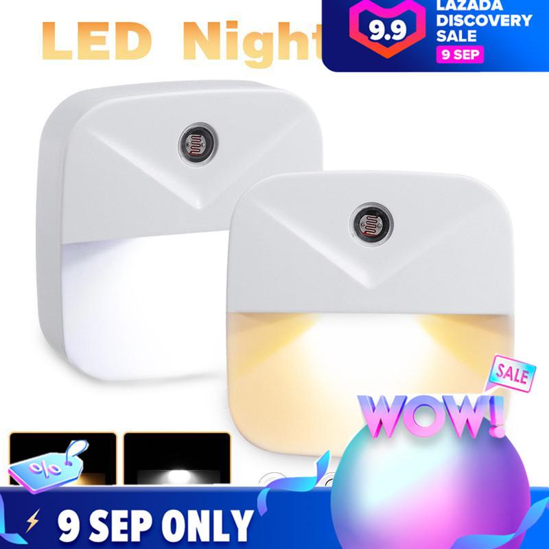 Mini Thông Minh LED Night Lights Plug-In Tường Đèn Chiếu Sáng, Điều Khiển Ánh Sáng Cảm Ứng Cho Trẻ Em Phòng Ngủ US Cắm AC110V-220V Trắng/Ấm Trắng