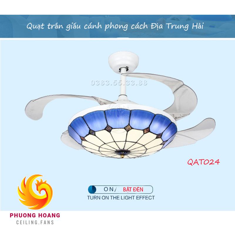 Quạt trần trang trí giấu cánh có đèn 05 cánh nhựa điều khiển từ xa màu xanh trắng QAT024 quạt trần cánh cụp cánh xòe