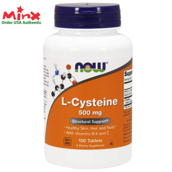 L-Cystein Now 500mg 100 viên, Viên uống bổ sung L Cysteine hỗ trợ bổ sung dưỡng chất da, tóc, móng (100 viên) - Now L-Cysteine 500mg