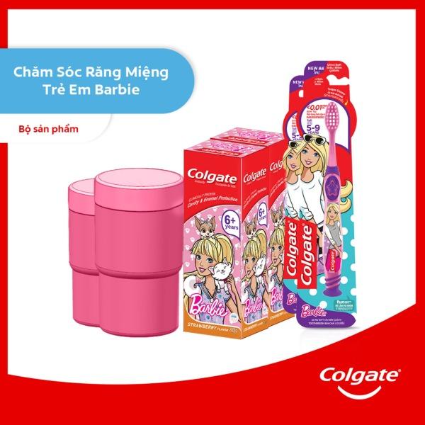 Bộ 2 kem đánh răng & bàn chải đánh răng trẻ em Colgate Barbie tặng kèm ly xinh xắn