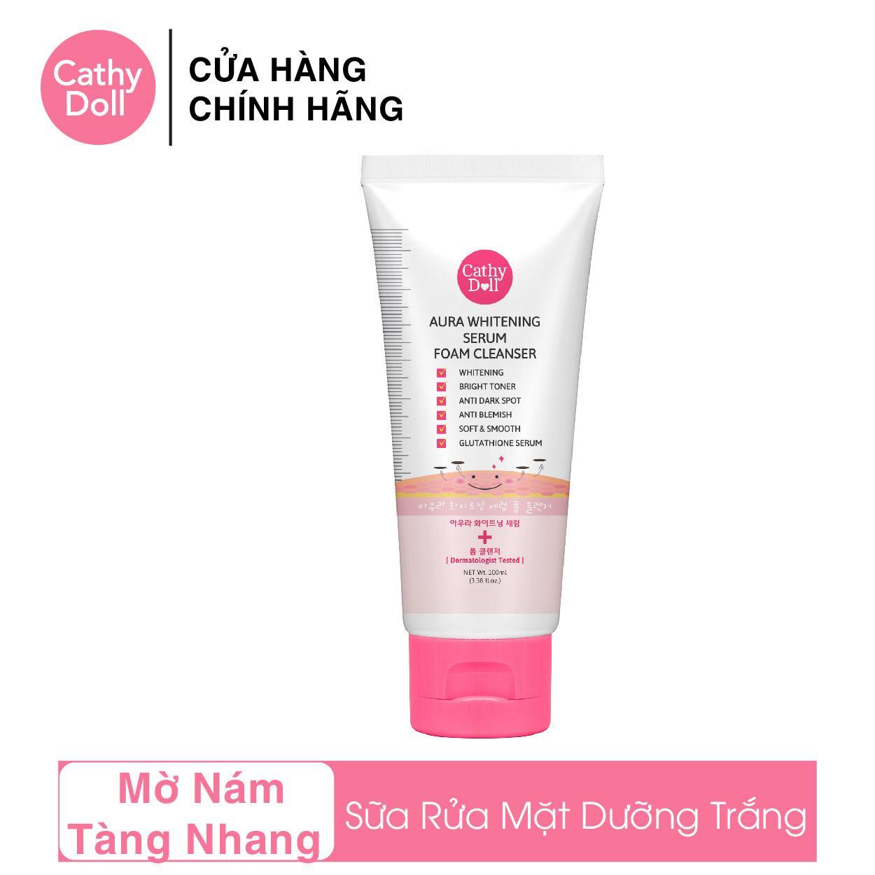 Sữa Rửa Mặt Dưỡng Trắng Cathy Doll Aura Whitening Serum Foam Cleanser 100ml tốt nhất