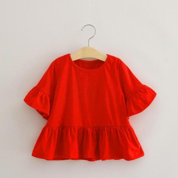 Giá bán Áo thun đỏ cho bé gái 3-8 tuổi cổ tròn tay lửng ống rộng phối bèo đáng yêu BBShine - A014