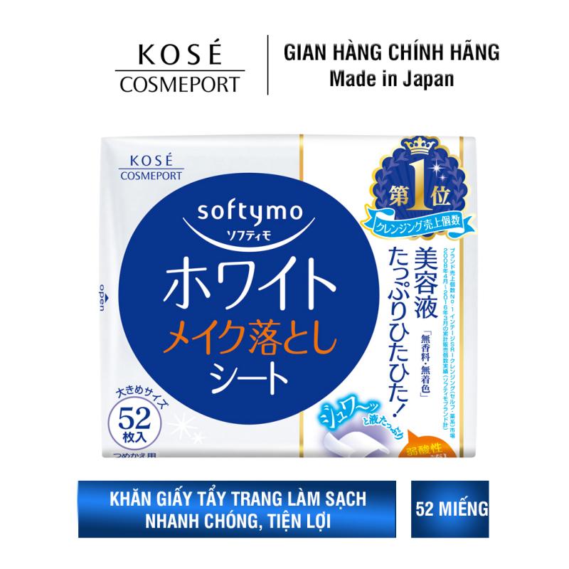 Khăn Giấy Tẩy Trang Kosé Cosmeport Softymo White Cleansing Sheet Refill 52 miếng