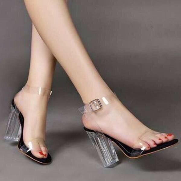 Giày cao gót vuông trong 9cm quai trong LZ003