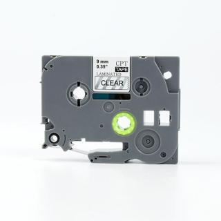Nhãn in CPT-121 tương thích máy in nhãn Brother P-Touch - Nhãn in chữ đen nền trong suốt 9mm (Clear) thumbnail