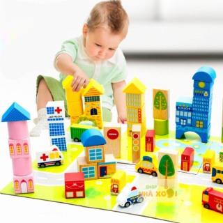 Đồ chơi gỗ lắp ghép mô hình thành phố trong mơ, gỗ nổi 3D 62 chi tiết có tranh ghép nền, đồ chơi thông minh, đồ chơi phát triển trí tuệ, đồ chơi giáo dục sớm, shop nhà xoài thumbnail