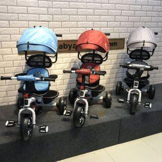 Xe 3 bánh loại tốt có mái che, Xe đẩy 3 bánh kiêm xe đạp, xe 3 bánh trẻ em có mái che, cần đẩy, khung an toàn, lót mông, chỗ để chân phụ, xe đạp tập đi, phù hợp cho bé từ 8 tháng - 6 tuổi, BẢO HÀNH 12 THÁNG thumbnail