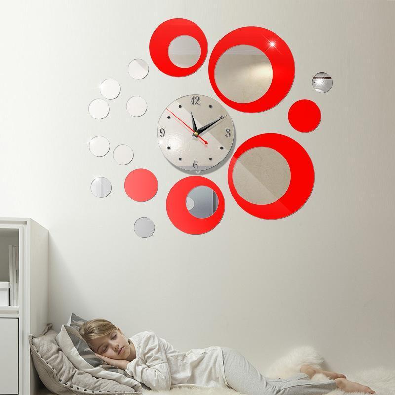 Đồng hồ 3D Phong cách Châu Âu mẫu mới DH02 hình tròn(DIY) (Bạc -Đỏ) bán chạy