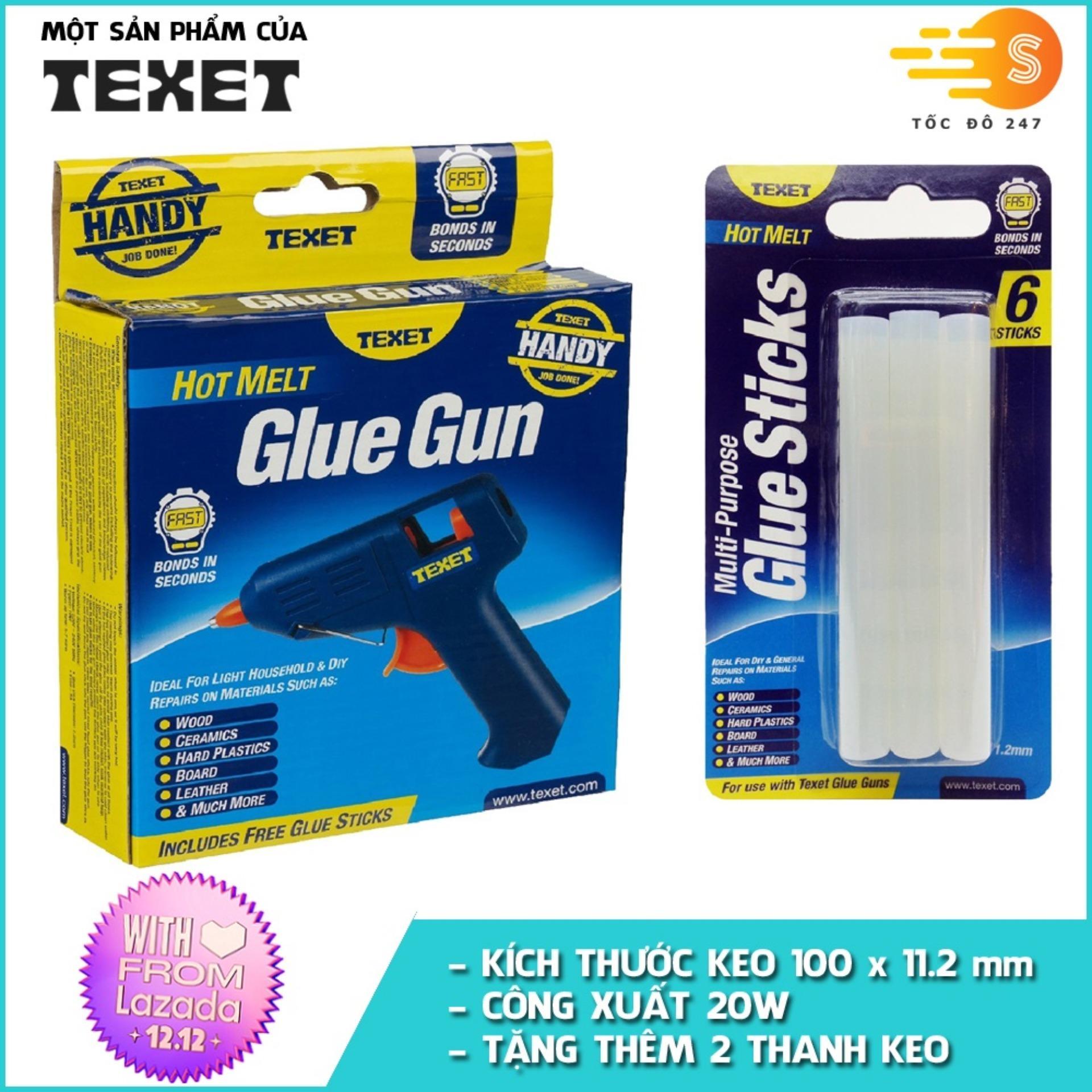 Bộ Combo súng bắn keo TEXET HH-158 và 6 thanh keo GS-HOT6PK