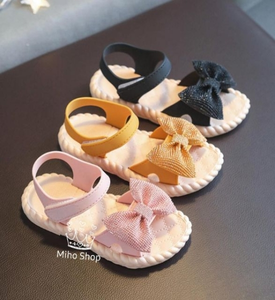 Giá bán Sandal Nơ Kim Tuyến Bé Gái Đẹp Xuất Sắc - Xăng đan bé gái - SHOP MIHO SHOES
