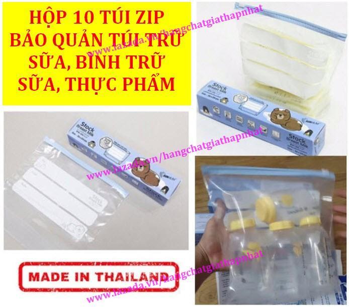 Siêu Tiết Kiệm Khi Mua Hộp 10 Túi Zip Bảo Quản Túi Trữ Sữa, Bình Trữ Sữa, Thực Phẩm - Không BPA SUNMUM (Made In Thailand)