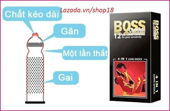 Bao cao su gân gai tăng cường cảm giác Boss 4 in 1 (Hộp 12c)