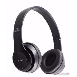 Tai nghe chụp tai cao cấp có khe thẻ nhớ Bluetooth P47 (Đen) 1000002734 có dây aux kết nối điện thoại máy tính laptop thumbnail