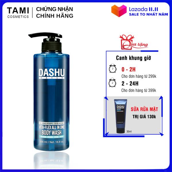 Sữa tắm gội rửa mặt 3 in 1 dành cho nam DASHU Vita - Flex All In On Body Wash sữa tắm gội toàn thân cho nam dầu gội nam sữa tắm nam sữa rửa mặt nam TM-ST01 nhập khẩu